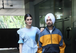 Kriti Sanon and Diljit Dosanjh snapped during 'Arjun Patiala' promotions