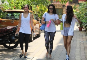 Malaika Arora, Amrita Arora and Seema Khan snapped at Diva Yoga Studio