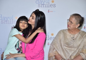 Aishwarya Rai Bachchan with her mother and daughter Aaradhya Bachchan snapped at an event
