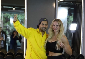 Varun Dhawan with WWE super star Charlotte Flair snapped at gym