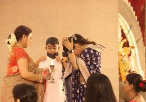 Mouni Roy and Kajol at Durga Pendal