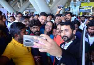 Suriya Acted Akasame Nee Haddura Movie Press meet held at Chennai Airport