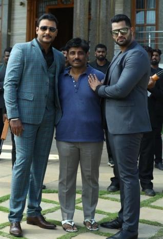 Actor Darshan in Amar movie shooting set