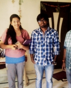Director Bhalazi with geetha madhuri while songs recording