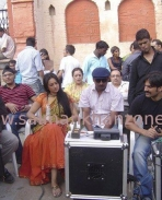 Salman Khan, Arbaaz Khan and Sonakshi Sinha on the sets of Dabangg