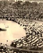 Concert hall in Singapore in 1957. TMS performing concert.