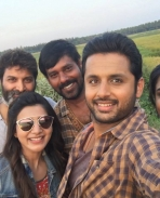 Nithin and Samantha on the sets of A Aa movie