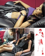 Trisha with Jayamravi's tattoo