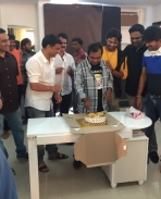 Brahmanandam celebrating birthday on the sets of Supreme