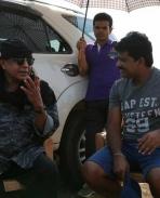 Mithun Chakraborty on the sets of The Villain