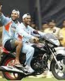 dhoni in bike