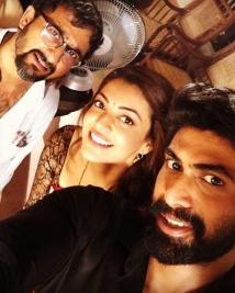 Rana, Kajal and Teja on the sets of Nene Raju Nene Mantri