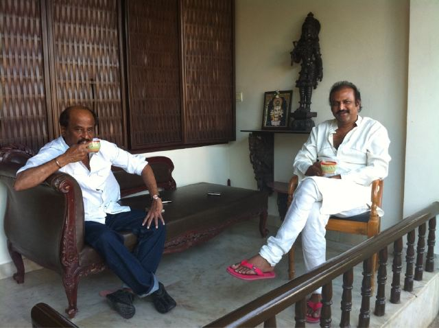 Rajinikanth celebrates his bday at Hyderabad with Mohan Babu