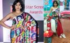 Adah Sharma wears a fusion saree designed by Satya Paul at Star Screen Awards 2018