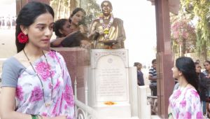 Thackeray Film: Amrita Rao visits Shivaji Park in her Meenatai Thackeray Avatar
