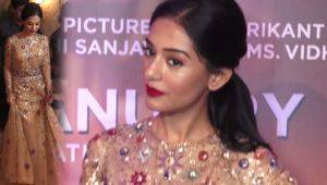 Amrita Rao looks stunning in a peach dress at Thackeray Music Launch