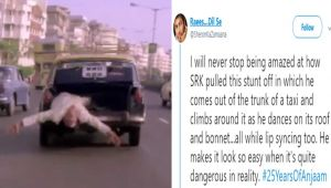 Shahrukh Khan gives Reply to his Fan Praising Dangerous Car Stunt In Anjaam,Find here