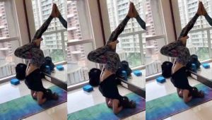 Mouni Roy's tough yoga aasan will you in shock; Watch video