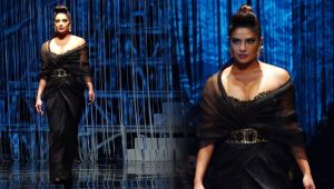 Priyanka Chopra looks glamours in strapless gown at Indian fashion show