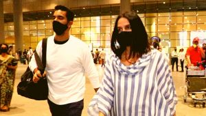 Neha Dhupia and Angad Bedi return Mumbai from Goa