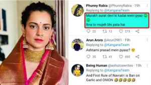 Kangana Ranaut gets Brutally Trolled for sharing Onion picture in Ashtami Parsad