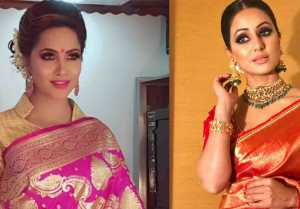 Hina Khan Saree Look Copied By Arshi Khan On Rajeev Khandelwal's Show Juzzbaat