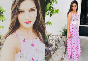Sapna Choudhary Looks Glamorous In Floral Pink Gown
