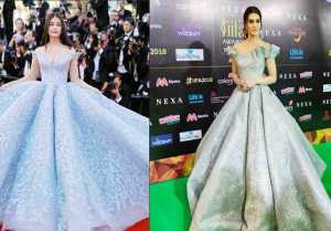Iifa 2018 : Kriti Sanon Copies Aishwarya Rai Bachchan's Cannes Look At Green Carpet