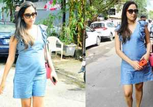 Mira Rajput Flaunts Baby Bump In Denim Shift Dress, Looks Adorable