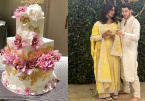 Priyanka Chopra & Nick Jonas's engagement cake decorated with 24 carat gold  FilmiBeat