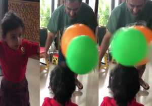 Ziva Dhoni's Cute Balloon fight with Papa Ms Dhoni goes Viral, Watch Video  FilmiBeat
