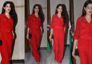 Jhanvi Kapoor looks like her mother Sridevi in her bold red jumpsuit  FilmiBeat