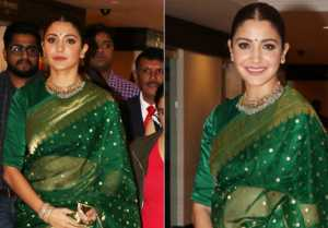 Anushka Sharma looks gorgeous in green saree at Priyadarshini Academy Global Awards 2018
