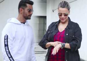 Neha Dhupia spotted with husband Angad Bedi on the sets of her show No Filter Neha; Watch Video