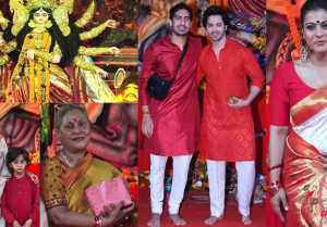 Bollywood Celebs Durga Puja: Kajol, Varun Dhawan & others attend; Watch video