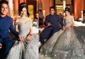 Prince Narula & Yuvika Chaudhary Reception: Yuvika looks stunning in her glittery gown