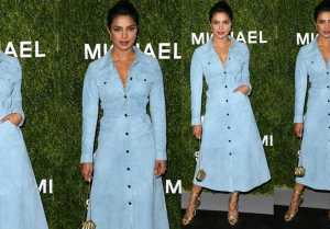 Priyanka Chopra looks stunning in blue suede shirt dress at award show