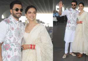 Deepika & Ranveer look beautiful in white attire as they leave for Bangalore Reception