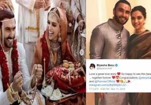 Deepika  Ranveer Wedding: Anushka Sharma, Katrina, Karan Johar & Others WISH Deepveer
