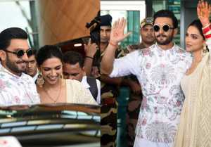 Deepika Padukone & Ranveer Singh reach at Bangalore Airport, receive Grand Welcome; Watch