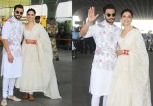 Deepika Padukone & Ranveer Singh leave for Bangalore Reception; Spotted at Mumbai Airport