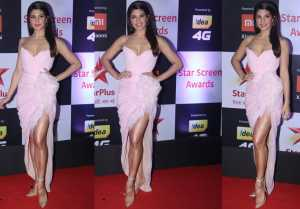 Jacqueline Fernandez looks gorgeous in offshoulder baby pink dress