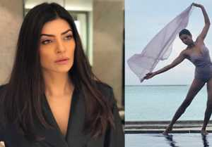 Sushmita Sen strikes a beautiful dance pose in Purple Monokini pic by the pool