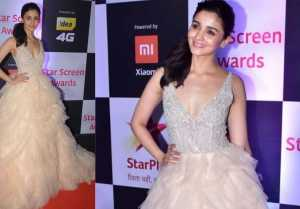 Alia Bhatt looks absolutely lovely in a pastel shade gown at Star Screen Awards 2018