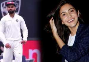 Virat Kohli dances in front of Anushka Sharma during match