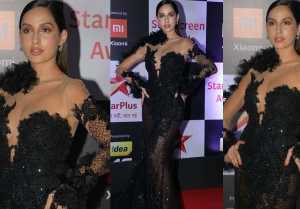 Nora Fatehi steals the limelight in black dress at Star Screen Awards; Watch Video