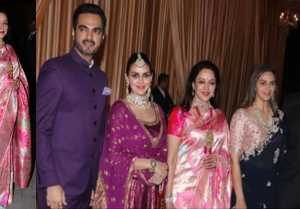 Isha Ambani Reception: Hema Malini looks Beautiful in Saree; Watch Video