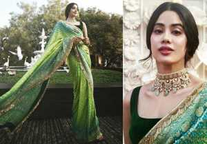 Jhanvi Kapoor wears a Green Bandhani Saree for Isha Ambani's prewedding festivities