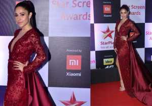 Nushrat Bharucha looks stunning in red sparkling gown at Star Screen Awards 2018