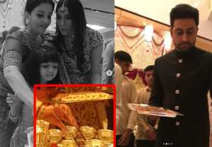 Aishwarya Rai Bachchan & Abhishek Bachchan serve food to Guests at Isha Ambani wedding